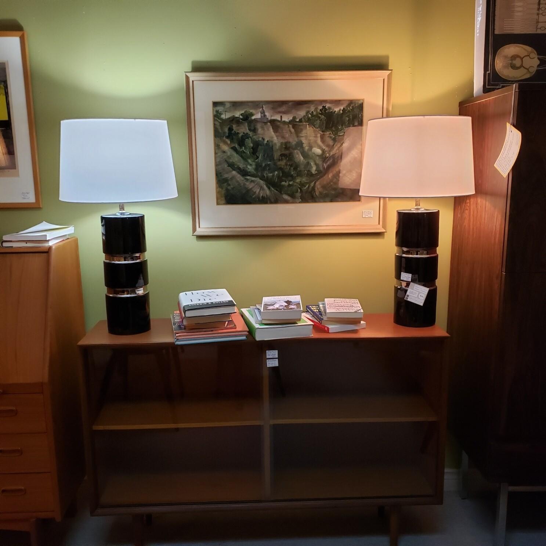 Mid Century Modern Pair of Lamps Ceramic - V89