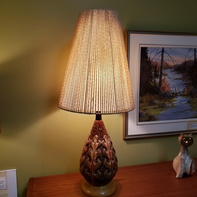 Mid Century Modern Pair of Lamps Ceramic and Teak  - V89