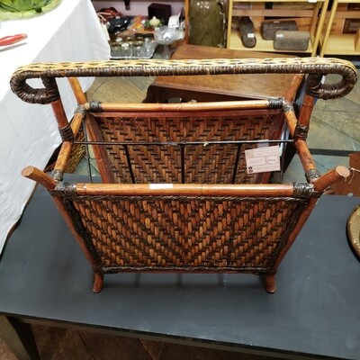 Wicker and Metal Magazine Rack - V38