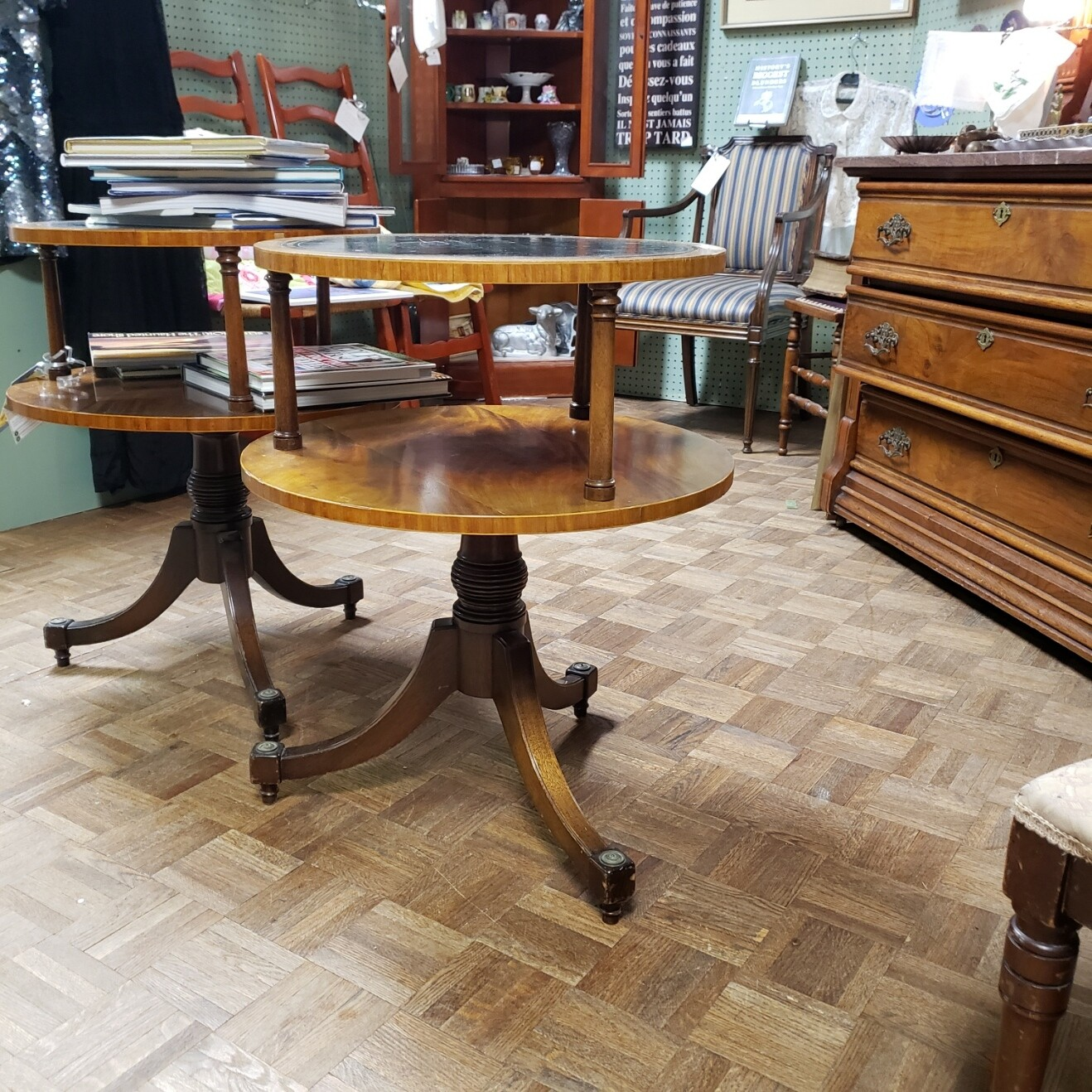 Pair of Leather Top Tables - B85