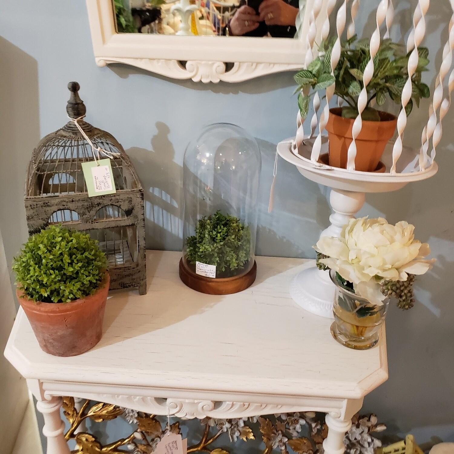 Painted Console Table with Mirror - V55