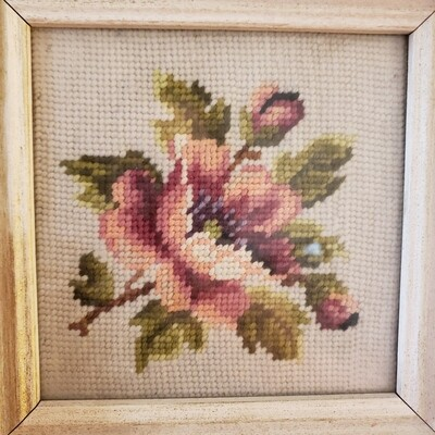 Embroidered Flower in Frame - Vintage Needlepoint - B67