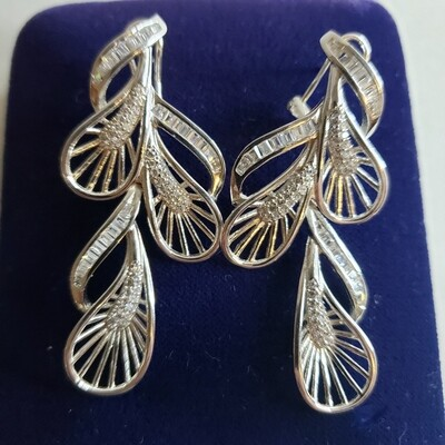 Sterling Drop Earrings 2 inch - V63