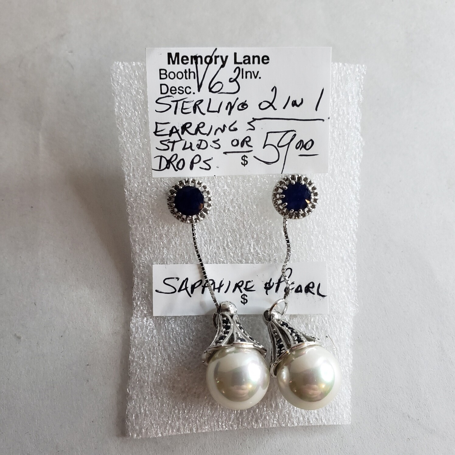 Sterling Studs with drops - V63