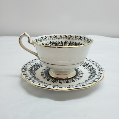 Queen Anne - Black Rose -  Tea Cup & Saucer - Booth V91