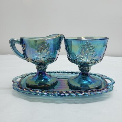 Carnival Glass 3 pc black ,Cream, Sugar and Tray- V38