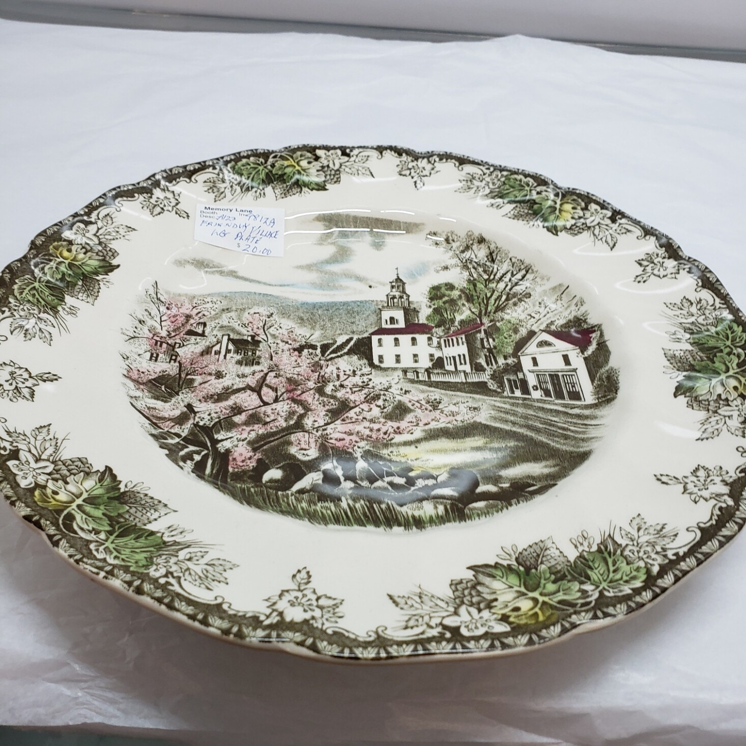 Friendly Village - Johnson Brothers - Original Church - Dinner Plate   - Booth A123