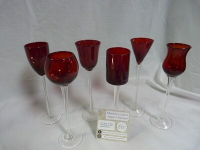 6 Red Cordial glasses with long stem- Booth B85