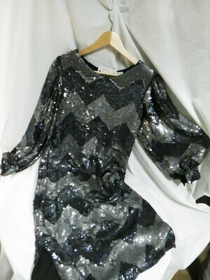Black and Silver Sequin Dress - B85