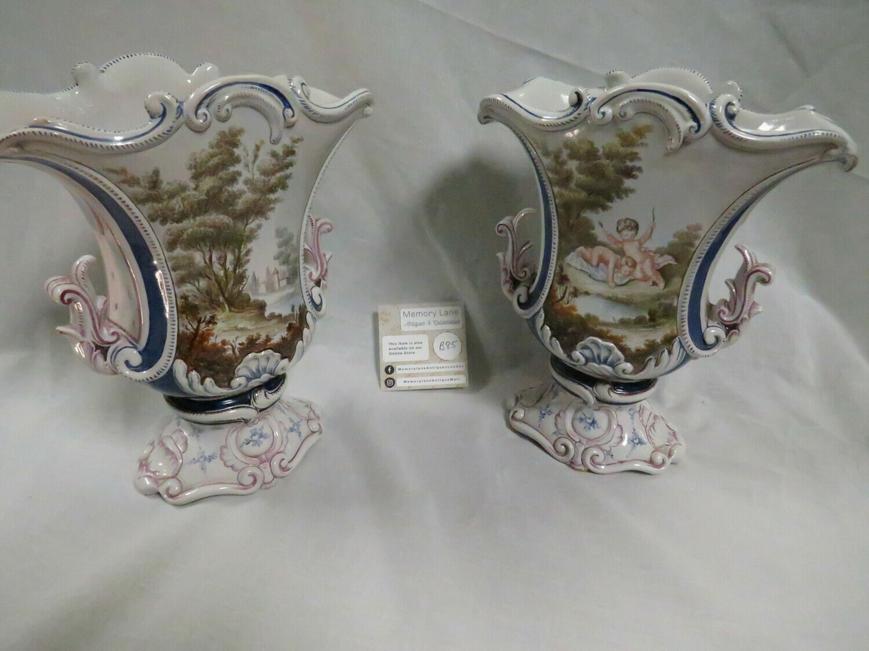 Antique Italian Urn Pair - B85
