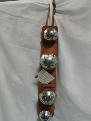 4 Metal Sleigh bells on Metal Strap - silver plate - B85