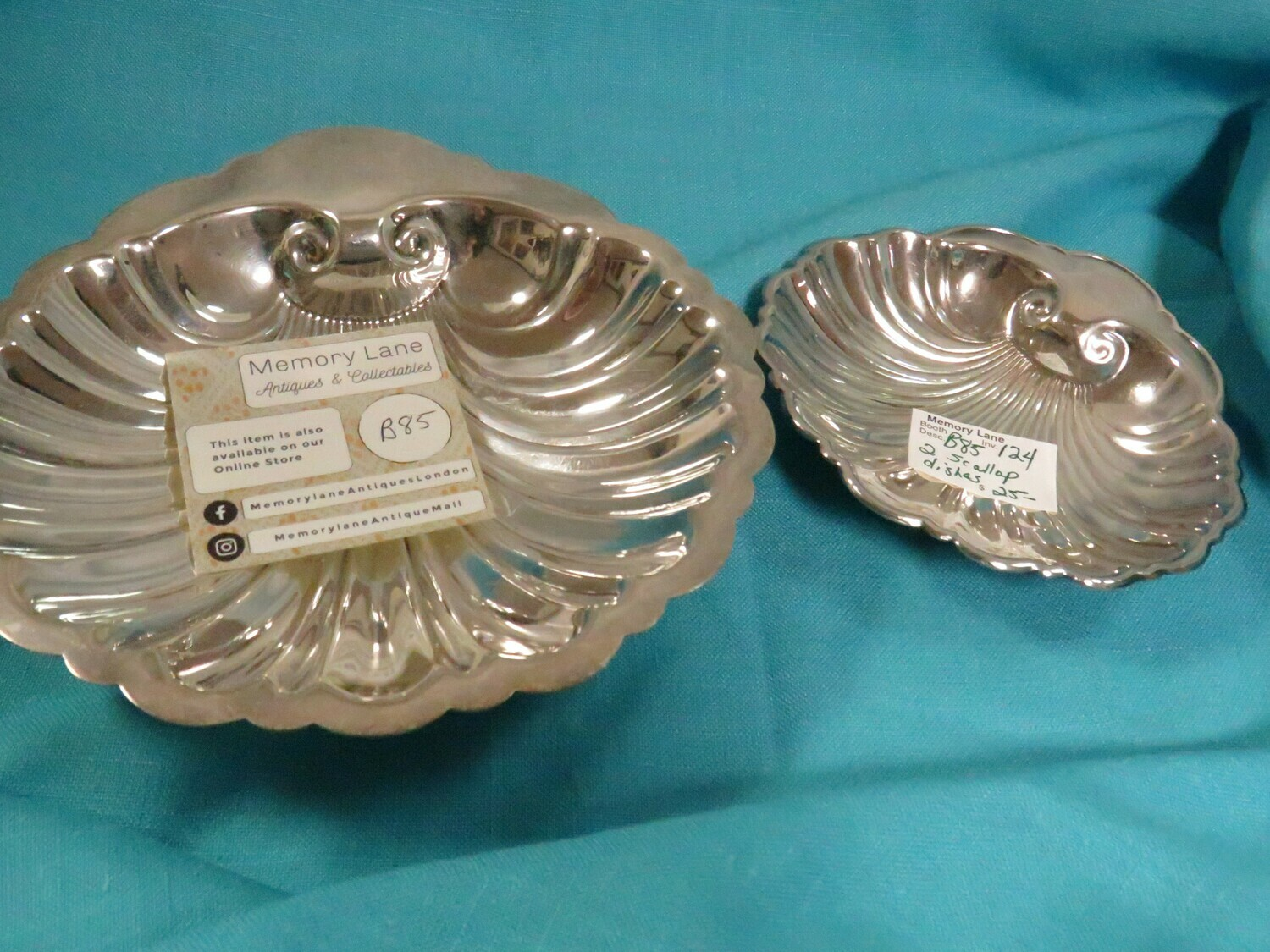 1950's 25.002 silver plate scalloped dishes - B85