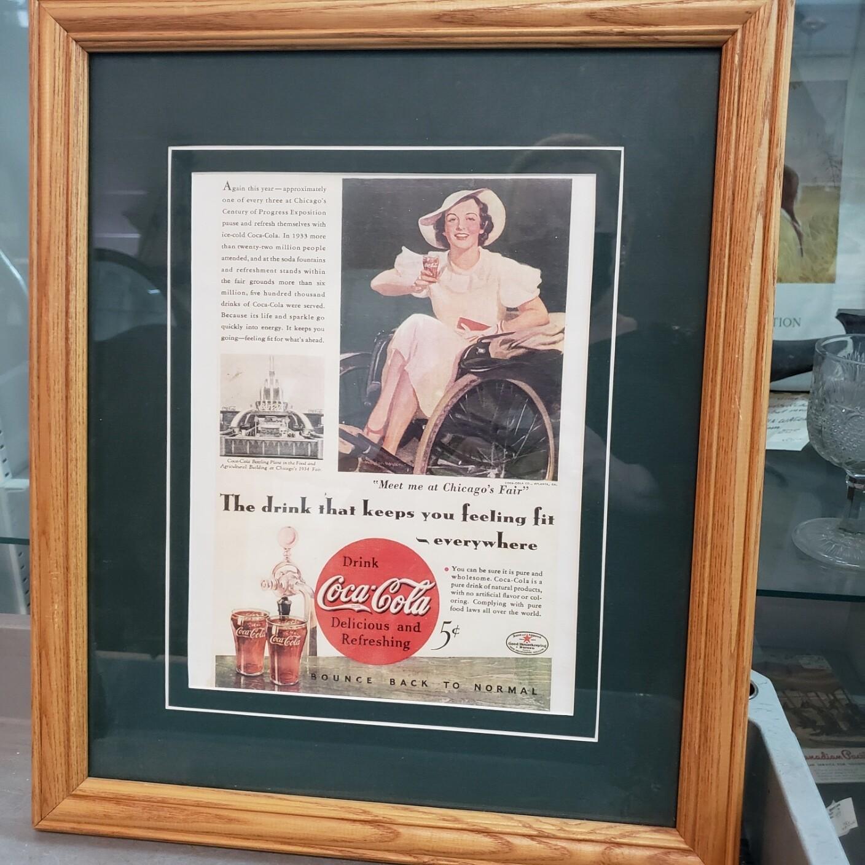 Framed old Coke Advertisement - V96