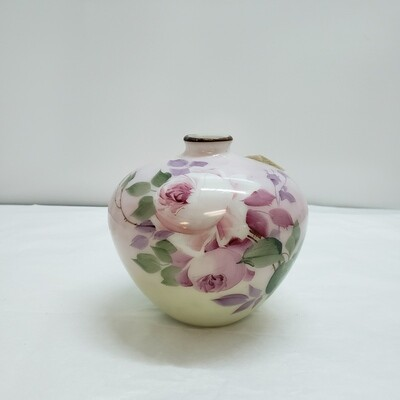 Hand Painted Milk Glass Vase - A58