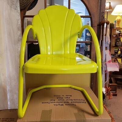 Retro Inspired Pear Coloured Metal Outdoor Chairs