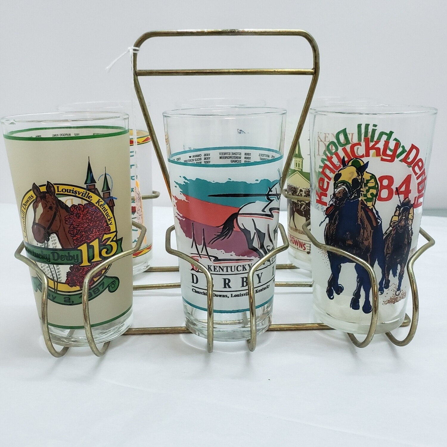7 piece Kentucky Derby Tall Glasses with Carrying Caddy - B57