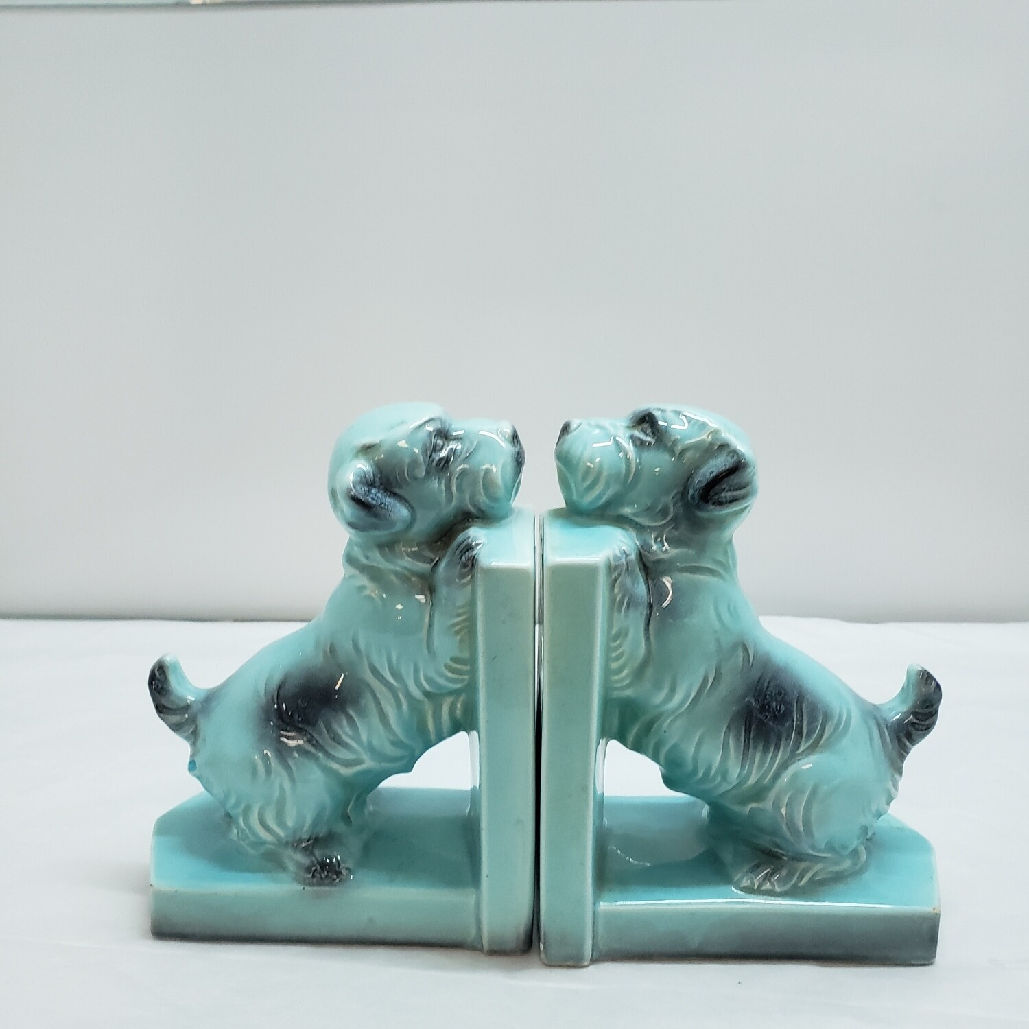 Turquoise Scotty Dog Book ends - B42
