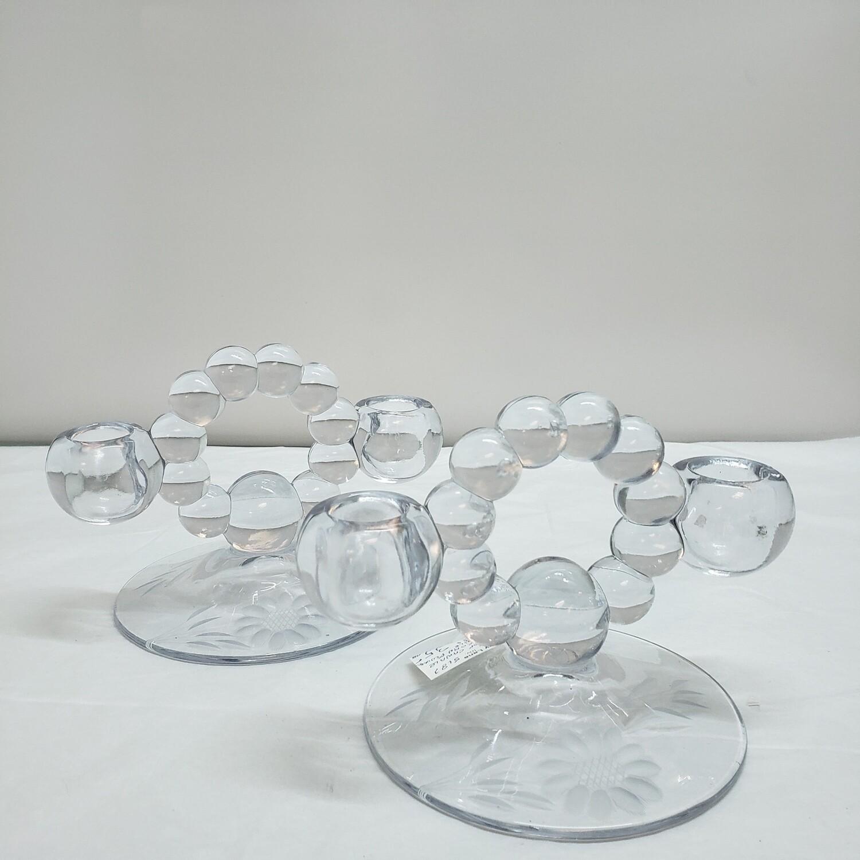 Pair of Crystal Cornflower candle holders - C62