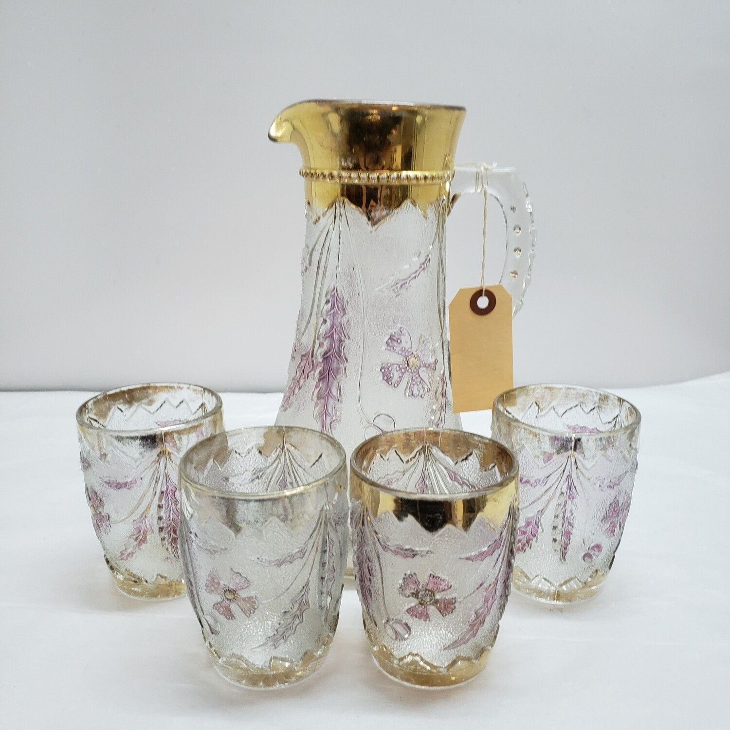 Delaware Patterned Glass pitcher and 4 glasses - Booth C62