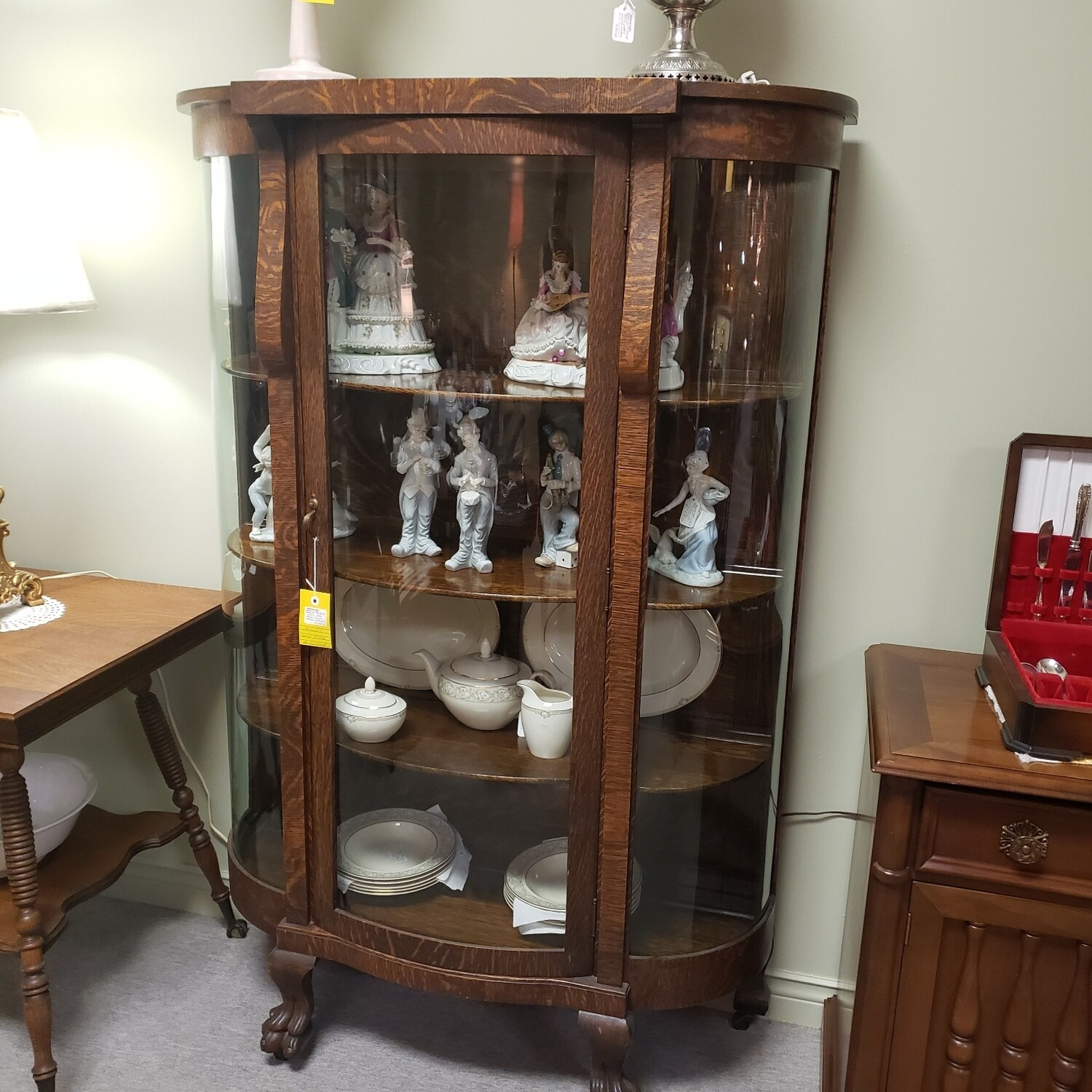 Oak Bow Fronted Cabinet - C21