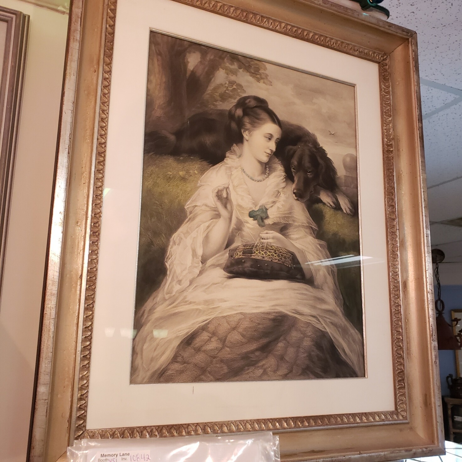 Historic Girl with Dog - Engraving - V51
