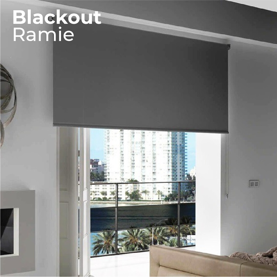 Cortina Roller Blackout Ramie - 1.2m ancho x 1.4m alto