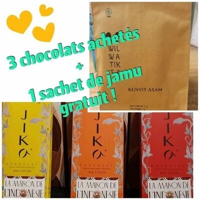 3 TABLETTES DE CHOCOLAT + 1 Sachet de JAMU GRATUIT