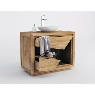 Meuble teck salle de bain SIBERUT - 100 cm