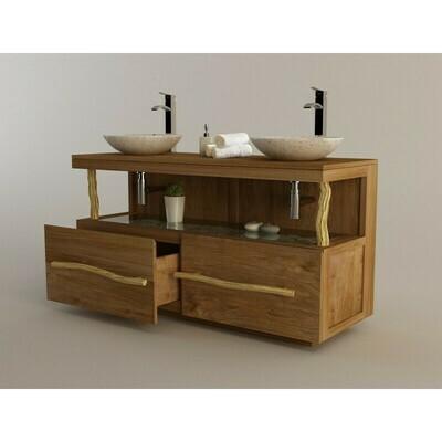 Meuble teck salle de bain LIANE double vasque - 140 cm