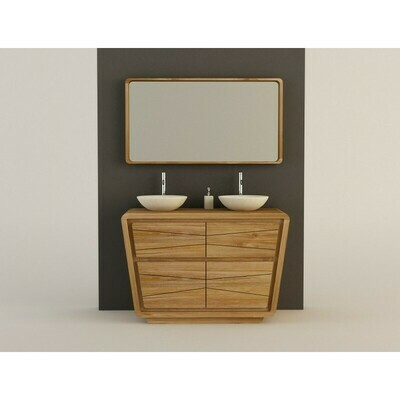 Meuble teck salle de bain incliné MADURA 3 portes - 120cm