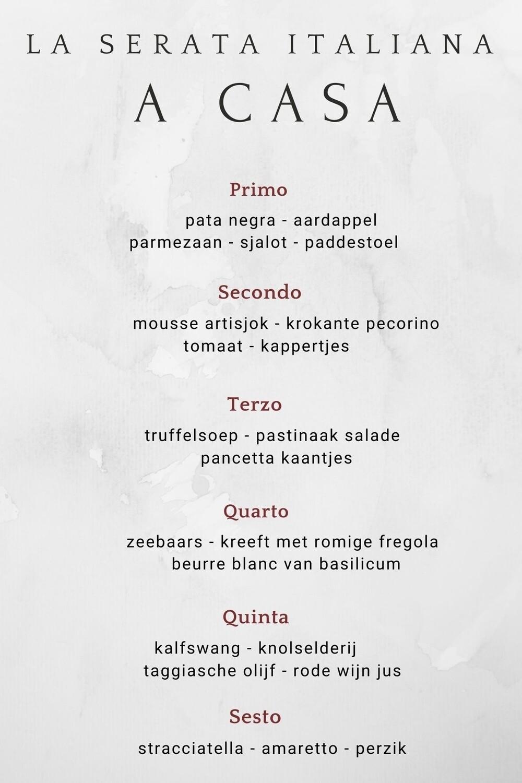 Exclusief 6-gangen diner La Serata Italiana a casa