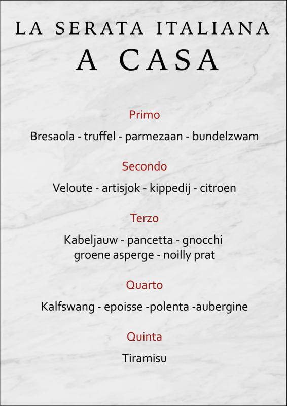 Exclusief 5-gangen diner La Serata Italiana a casa
