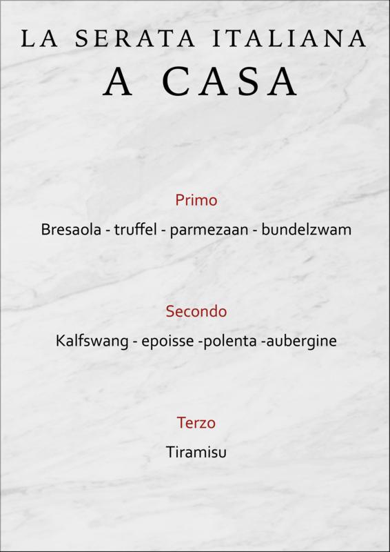 Exclusief 3-gangen diner La Serata Italiana a casa
