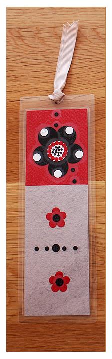 Grey, Red & Black | Handmade Bookmark