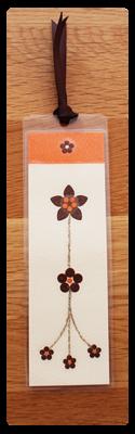 Cream, Orange & Coffee Bookmark | Handmade Bookmark with Sand