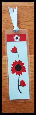 Aqua, Red & Black Bookmark | Handmade Bookmark with Sand