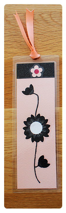 Pink, White & Black Bookmark   Handmade Bookmark with Sand