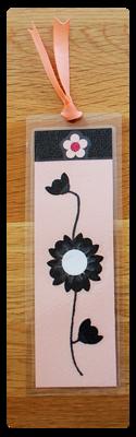Pink, White & Black Bookmark | Handmade Bookmark with Sand