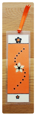 Orange, Cream & Black Bookmark | Handmade Bookmark with Sand