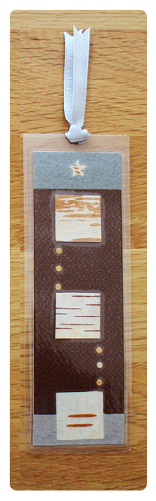 Coffee/Grey Squares & Dots Bookmark | Handmade Bookmark with Plant Parts