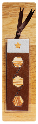 Coffee/Grey/Toffee Hexagons & Dots Bookmark | Handmade Bookmark with Plant Parts & Sand