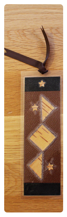 Coffee, Black & Grey Diamonds Bookmark   Handmade Bookmark with Plant Parts & Sand