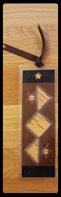 Coffee, Black & Grey Diamonds Bookmark | Handmade Bookmark with Plant Parts & Sand