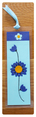 Aqua, Navy & Gold Bookmark | Handmade Bookmark with Sand
