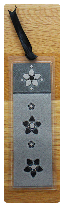 Light Grey, Dark Grey & Black Bookmark   Handmade Bookmark with Sand