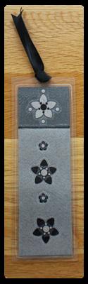 Light Grey, Dark Grey & Black Bookmark | Handmade Bookmark with Sand