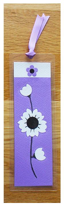 Lavender, White & Black Bookmark | Handmade Bookmark with Sand