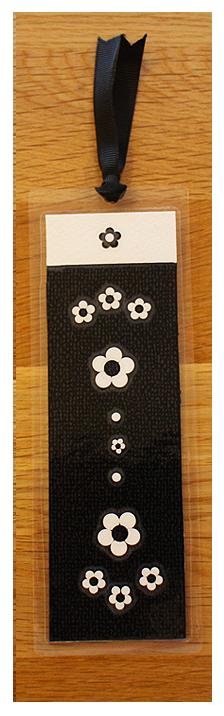 Black & White Flowers & Dots Handmade Bookmark