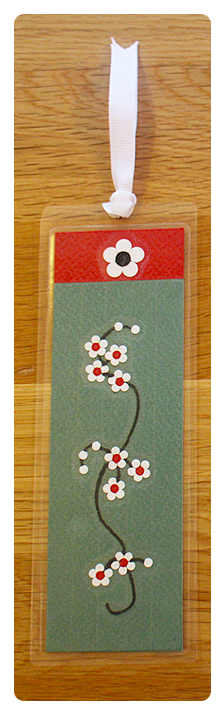 Sage, Red & White Bookmark | Handmade Bookmark with Sand