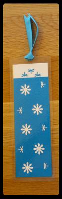 Blue & White Daisy/Dragonfly Handmade Bookmark
